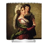 Madame Rousseau And Her Daughter Shower Curtain by Elisabeth Louise Vigee Lebrun
