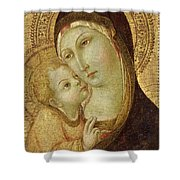 Madonna and Child Shower Curtain by Ansano di Pietro di Mencio