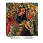 Madonna and Child enthroned with Angels and Saints Shower Curtain by Fra Filippo Lippi