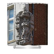 Madonna And Child Statue On The Corner Of A House In Bruges Shower Curtain by Louise Heusinkveld