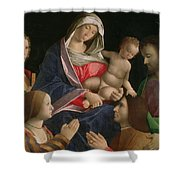 Madonna And Child With Saint John The Baptist Two Saints And Donors Shower Curtain by Vincenzo di Biagio Catena