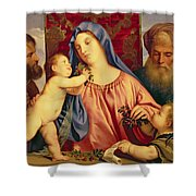 Madonna of the Cherries with Joseph Shower Curtain by Titian