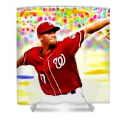 Magical Stephen Strasburg Shower Curtain by Paul Van Scott