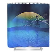 Magnetic Flux Shower Curtain by Corey Ford
