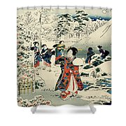 Maids in a snow covered garden Shower Curtain by Hiroshige