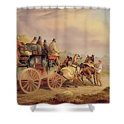 Mail Coaches On The Road - The 'quicksilver'  Shower Curtain by Charles Cooper Henderson