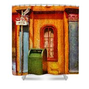 Mailman - No Parking Shower Curtain by Mike Savad