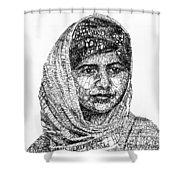 Malala Yousafzai Shower Curtain by Michael  Volpicelli
