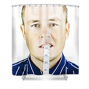 Man Biting Tape Measure Shower Curtain by Jorgo Photography - Wall Art Gallery