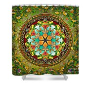 Mandala Evergreen Shower Curtain by Bedros Awak