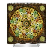 Mandala Stone Flowers Shower Curtain by Bedros Awak