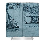Mangroves Shower Curtain by Leah  Tomaino