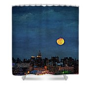 Manhattan Moonrise Shower Curtain by Chris Lord