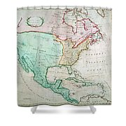 Map Of North America Shower Curtain by English School