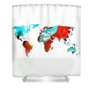 Map Of The World 4 -colorful Abstract Art Shower Curtain by Sharon Cummings