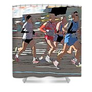 Marathon Runners II Shower Curtain by Clarence Holmes