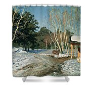 March Shower Curtain by Isaak Ilyich Levitan