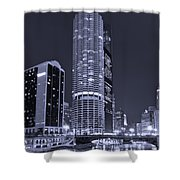 Marina City on the Chicago River in B and W Shower Curtain by Steve Gadomski