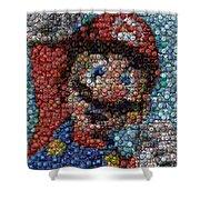Mario Bottle Cap Mosaic Shower Curtain by Paul Van Scott