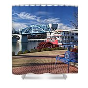 Market Street Bridge With The Delta Queen From Coolidge Park Shower Curtain by Tom and Pat Cory