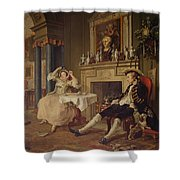 Marriage A La Mode II The Tete A Tete Shower Curtain by William Hogarth