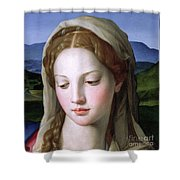 Mary Shower Curtain by Agnolo Bronzino