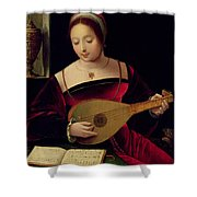 Mary Magdalene Playing The Lute Shower Curtain by Master of the Female Half Lengths