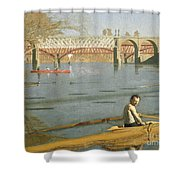 Max Schmitt In A Single Scull Shower Curtain by Thomas Eakins