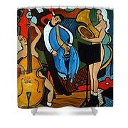 Melting Jazz Shower Curtain by Valerie Vescovi