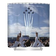 Members Of The U.s. Naval Academy Cheer Shower Curtain by Stocktrek Images