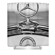 Mercedes Benz Hood Ornament 2 Shower Curtain by Jill Reger