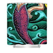 Mermaid With Pearl Shower Curtain by Genevieve Esson