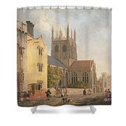 Merton College - Oxford Shower Curtain by Michael Rooker