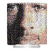Michael Jordan Face Mosaic Shower Curtain by Paul Van Scott