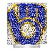 Milwaukee Brewers Mosaic Shower Curtain by Paul Van Scott