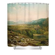 Minding The Flock Shower Curtain by Thomas Moran