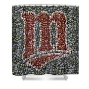 Minnesota Twins Baseball Mosaic Shower Curtain by Paul Van Scott
