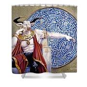 Minotaur With Mosaic Shower Curtain by Melissa A Benson