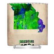 Missouri Watercolor Map Shower Curtain by Naxart Studio