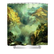 Mist In The Canyon Shower Curtain by Thomas Moran