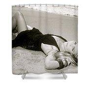 Model On Beach Shower Curtain by Kicka Witte - Printscapes