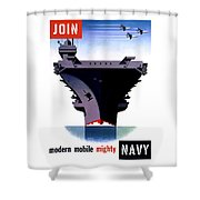 Modern Mobile Mighty Navy Shower Curtain by War Is Hell Store