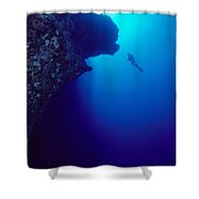 Molokini, Diver In Distance Shower Curtain by Dave Fleetham - Printscapes