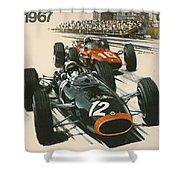 Monaco Grand Prix 1967 Shower Curtain by Georgia Fowler