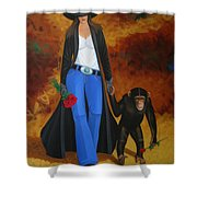 Monkeys Best Friend Shower Curtain by Lance Headlee