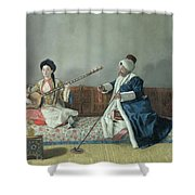 Monsieur Levett And Mademoiselle Helene Glavany In Turkish Costumes Shower Curtain by Jean Etienne Liotard