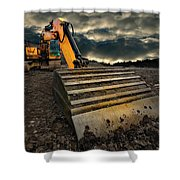 Moody Excavator Shower Curtain by Meirion Matthias