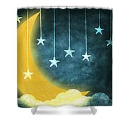 Moon And Stars Shower Curtain by Setsiri Silapasuwanchai