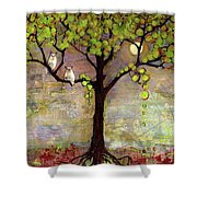 Moon River Tree Owls Art Shower Curtain by Blenda Studio