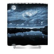 Moonlight over a lake Shower Curtain by Jaroslaw Grudzinski